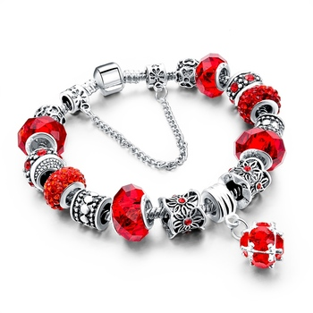 Women's Tibetan Silver Charm Bracelet Bracelets Jewelry Women Jewelry Metal Color: 278 red