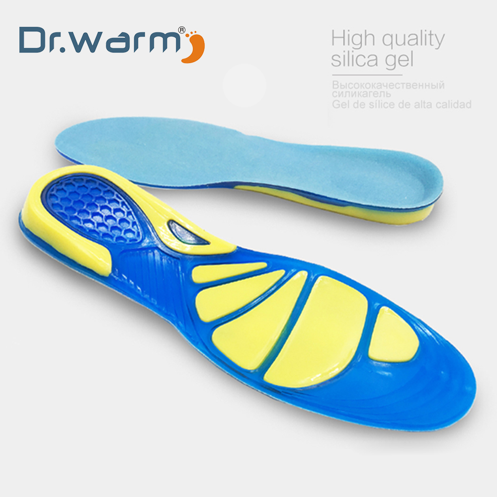 55943c250c Dr warm Silicon Gel Insoles Foot Care for Plantar Fasciitis Running Sport  Insoles Shock Absorption Pads arch orthopedic insoles