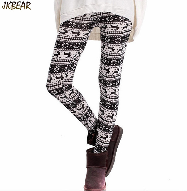 280946ed596d5 Thicken Fleece Lined Ugly Christmas Leggings for Women Winter Legging with  Reindeer Snowflake Print One Size