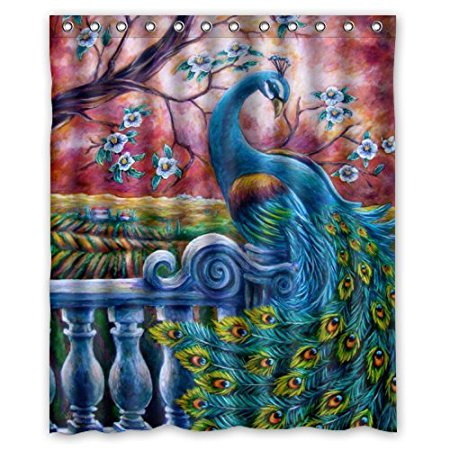 christmas decorations for home artistic paintings elegance peacock 160x180cm waterproof fabric bathroom shower curtain in shower curtains from home garden