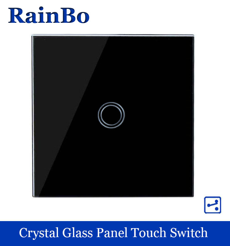 Crystal Glass Panel Switch EU Wall Switch 110~250V Touch Switch Screen Wall Light Switch 1 gang 2 way Black rainbo A1912XB smart home us au wall touch switch white crystal glass panel 1 gang 1 way power light wall touch switch used for led waterproof