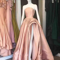 Illusion Sheer Neck Ruffles High Split Prom Dresses Satin A Line Evening Gowns Floor Length Cocktail Party Gowns