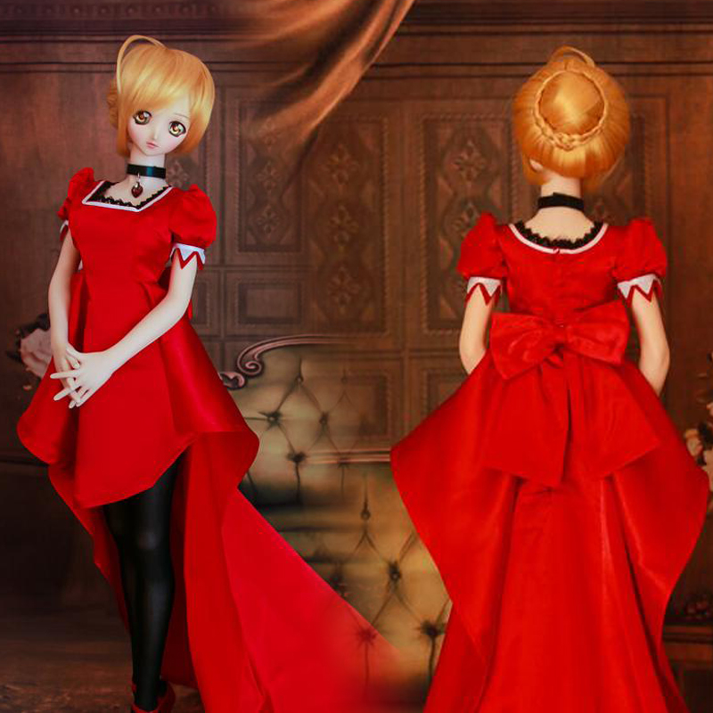 Accept custom New Hot Noble Blue/Red Long trailing skirt For 1/3 BJD SD DD Clothes accept custom european style black leather suit bjd uncle 1 3 sd ssdf doll clothes