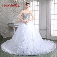 ILoveWedding Elegante Strass Vestido de Casamento Branco vestido de Baile Royal Train Apliques Robe De Mariage Tribunal Trem Vestiods 86115