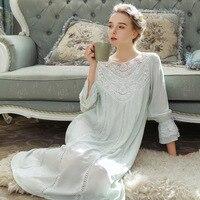 Women Sleepwear Princess Cotton Sleeping Skirt Female Long Sleeve Lace French Court Cotton Retro Long Nightgown Elegant Romantic