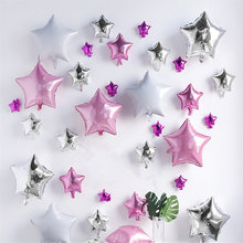 5pcs 18inch Rose gold Pink White Star Foil Balloons Happy Birthday Helium Balloons Wedding Birthday Decoration Globos Supplies(China)