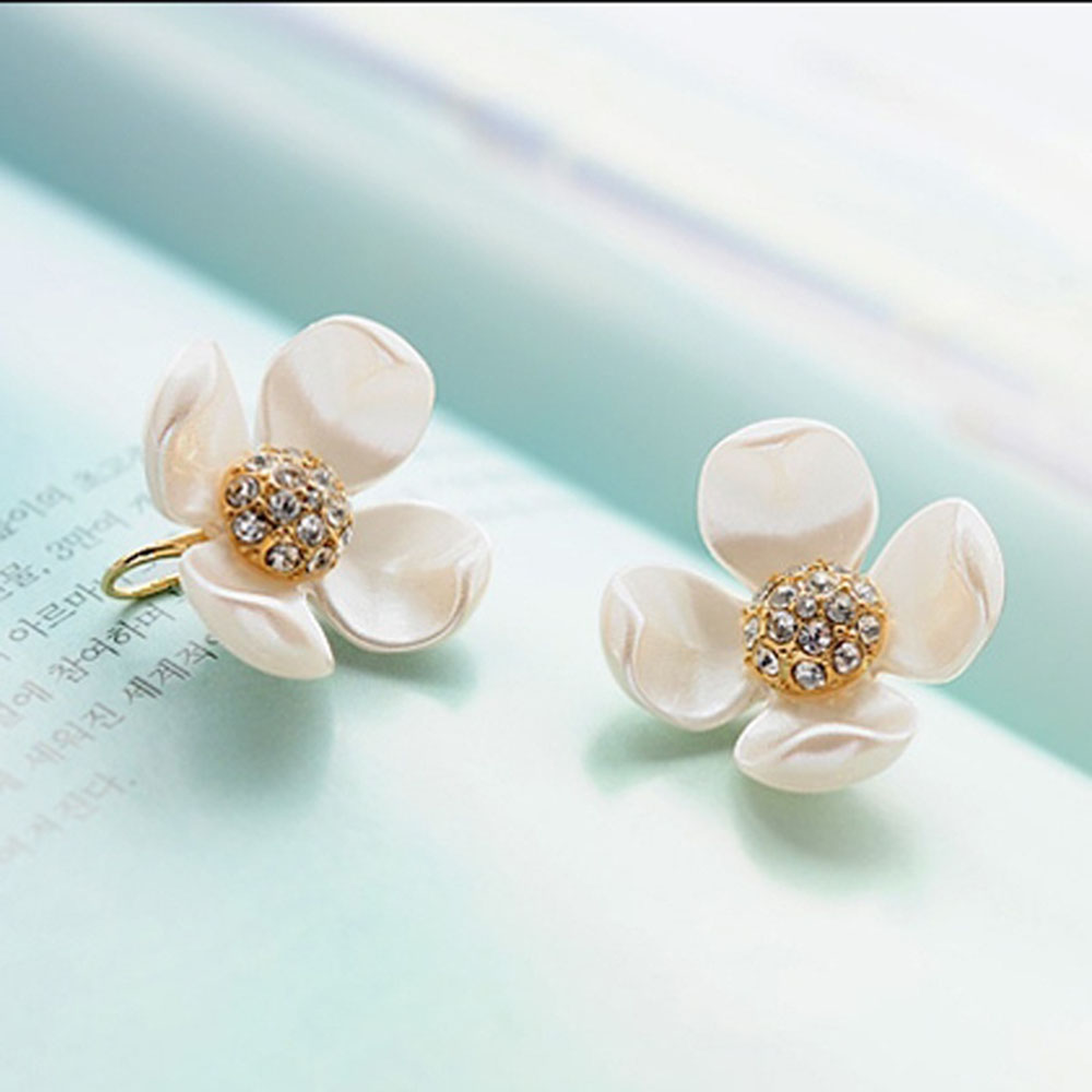 New 1 Pair Women S Fashion Elegant Imitation Mother Pearl Flower Earrings Stud Earring Jewelry High Quality In From
