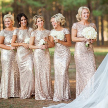 1597e43939 Sparkly Rose Gold Cheap 2019 Mermaid Bridesmaid Dresses 2017 Short Sleeve  Sequins Backless Long Beach Wedding Party Gowns Gold