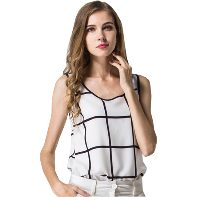 c8d507571e984 T-shirt women 2018 New sleeveless summer big chiffon black and white plaid  vest Camisole t shirt Vestidos HJY1004