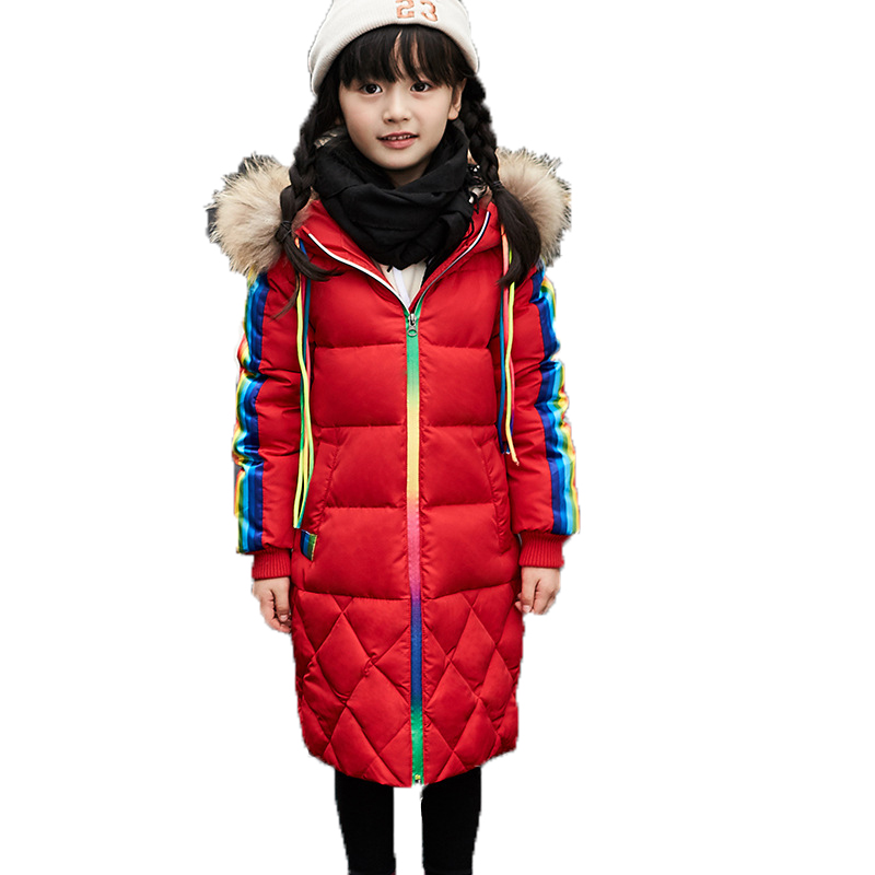 Kids Down Coat And Jackets For Girls Boys Coat Fur Collar Rainbow Hooded Thick Warm Parka Long Style Children's Outwear Clothing fur collar hooded girls duck down jackets children long patten coat kids thick warm snowsuit parka boys letter printed overcoat