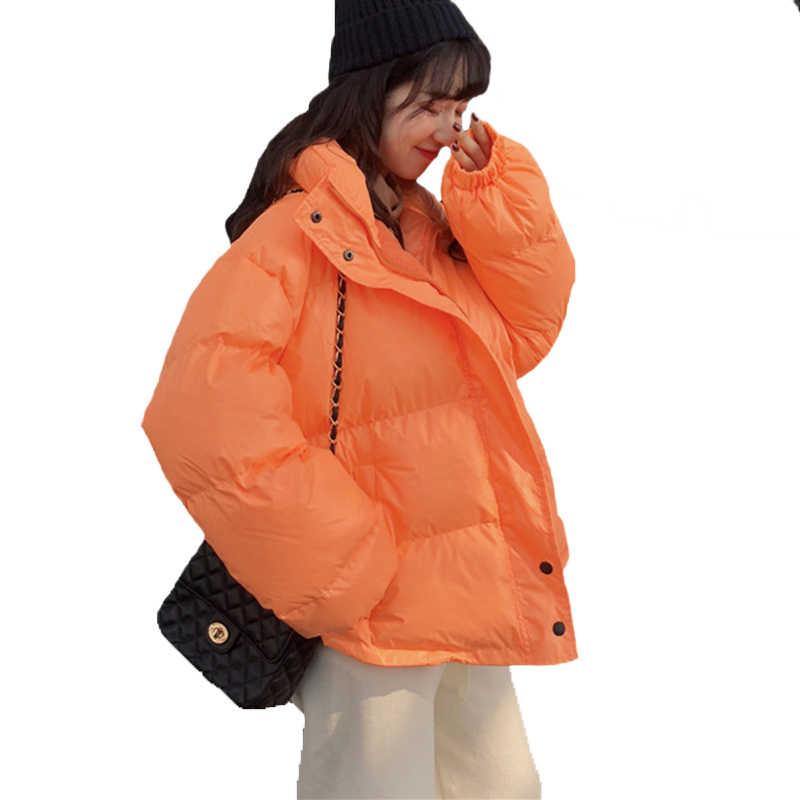 سترة شتوية بألوان زاهية للنساء سترة دافئة سميكة نمط قصير مبطن بالقطن معطف فضفاض بياقة واقفة ملابس خارجية