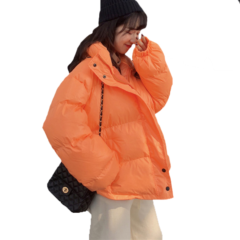 Bright Colors Winter Jacket Women Parka Warm Thick Solid Short Style Cotton Padded Parkas Coat Loose Stand Collar Outwear