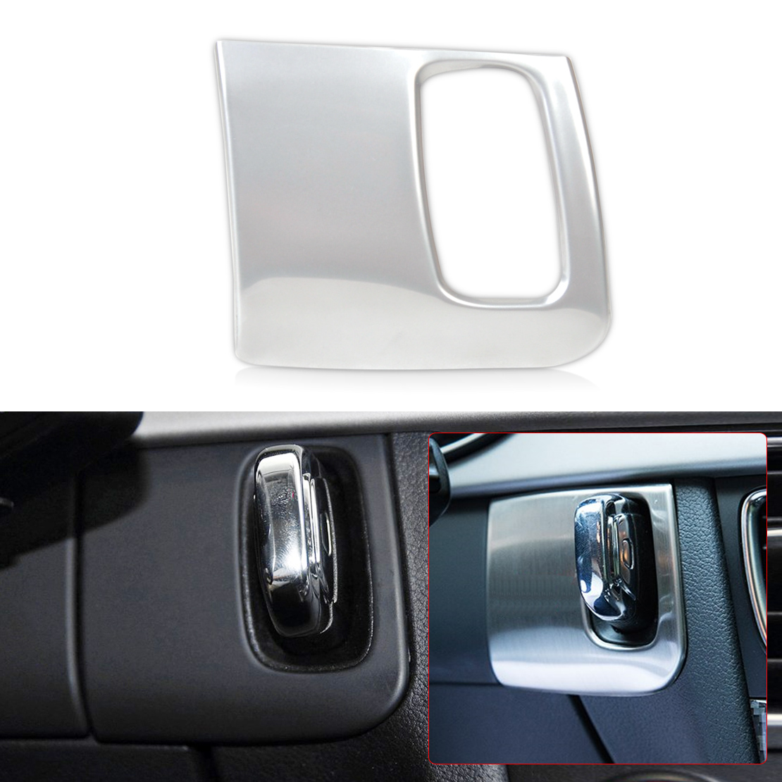beler Silver Stainless Steel Dash Ignition keyhole Molding Cover Trim for <font><b>Audi</b></font> <font><b>A4</b></font> A5 2009 2010 2011 2012 <font><b>2013</b></font> 2014 2015 image