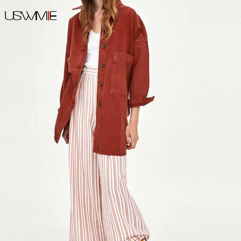USWMIE 2018 Autumn Women Blouses Fashion Simple Long Sleeve Turn-down Collar Pocket Solid Color Denim Shirt Irregular Hem Tops