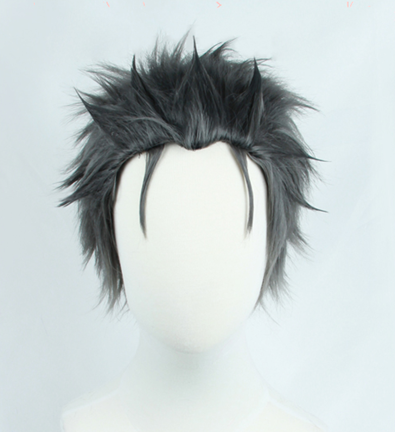 Re:Zero kara Hajimeru Isekai Seikatsu Subaru Natsuki Wig Black Grey Mix Short Synthetic Hair Cosplay Wig