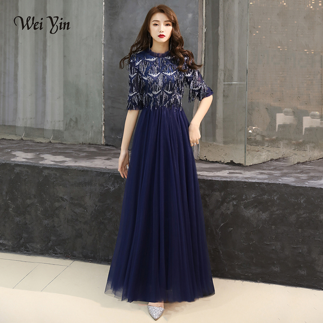 1046d96882 Wei Yin 2019 Muslim Navy Blue Luxury Half Sleeves Evening Dresses Tassel  Tulle Lace Evening Gowns