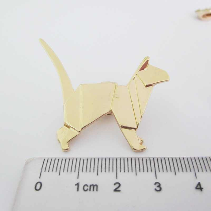 Moda takı aksesuarları metal kağıt katlanmış flexagon origami hayvan unicorn tavşan vinç kedi broş pimi