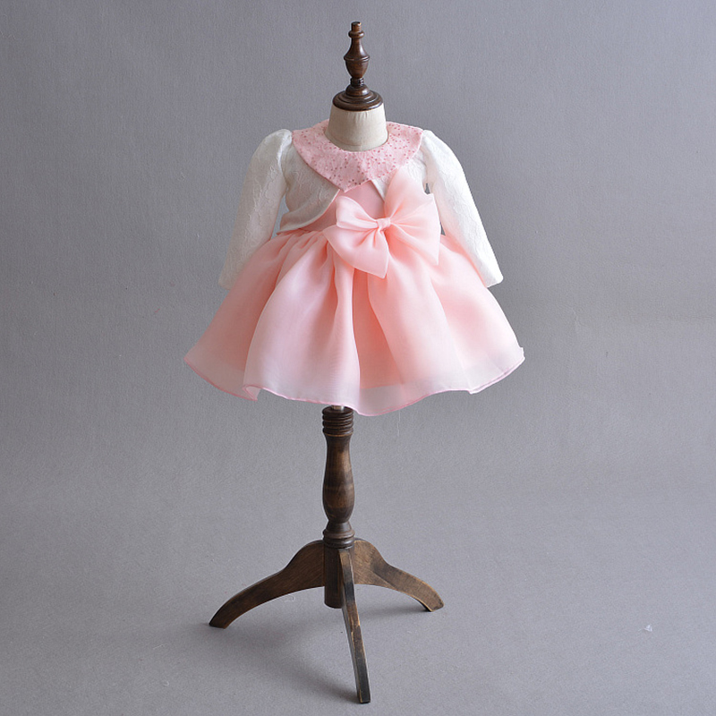 Baby Girl Dress Pink Organza Baptism Dress with Bolero Cute Sequin Collar Princess Girl Occasion Outfits A015 Baby Girl Frocks