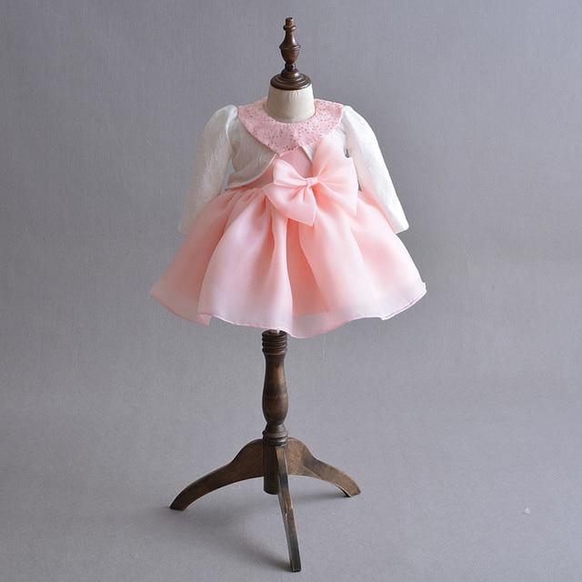 569daec29b3a Baby Girl Dress Pink Organza Baptism Dress with Bolero Cute Sequin ...