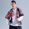 New summer men clothing print casual men loose street fashion japan hiphop kimono jacket cardigan coat linen overcoat A193
