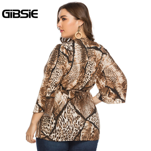 GIBSIE Sexy Deep V Neck Snakeskin Print Cardigan Top 4xl 5xl 6xl Women Plus Size Office Lady 3/4 Sleeve Belted Blouses Tops 2