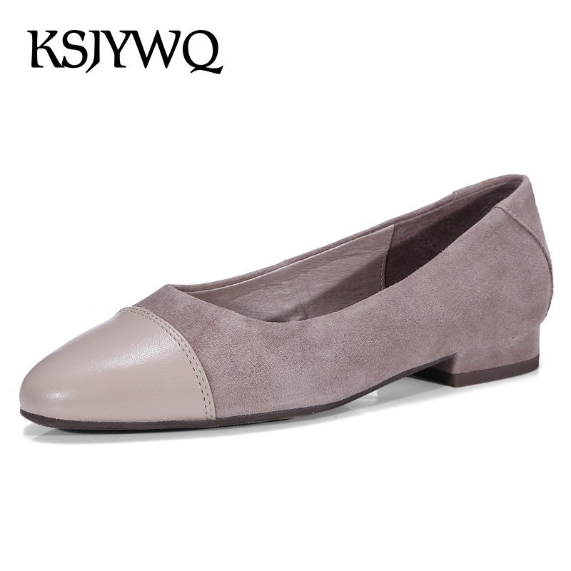 KSJYWQ 2018 Women's Genuine Leather Low Pumps Summer Style Slip-on 2 CM Heels Woman Dress Shoes Casual Loafers Box Packing L909 new 2017 men s genuine leather casual shoes korean fashion style breathable male shoes men spring autumn slip on low top loafers