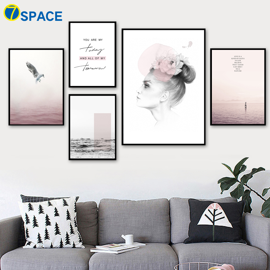 Abstract Woman Sea Landscape Quotes Wall Art Canvas Painting Nordic Posters And Prints Decoration Pictures For Living Room Decor