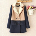 New arrival women winter coats 2 colors cotton long sleeves lapel collision color stitching coats thick fashion korean jacket