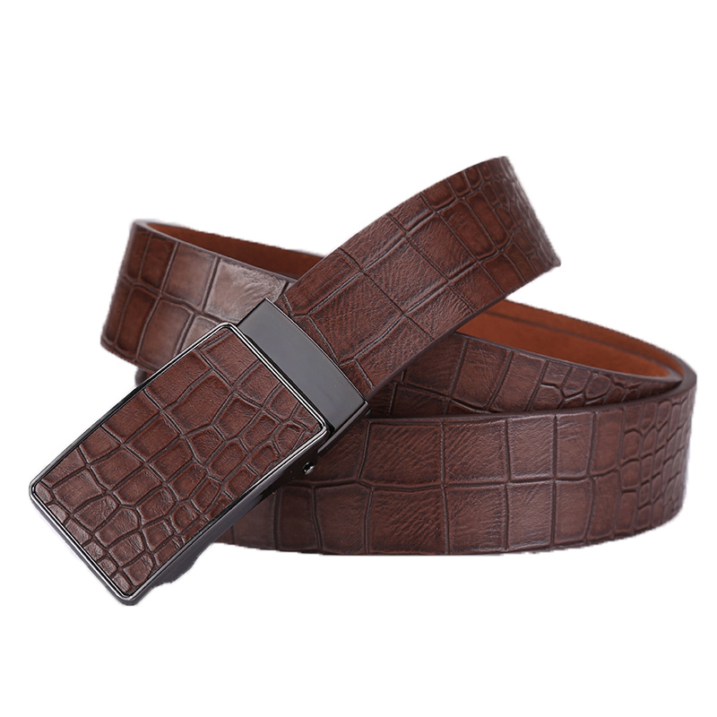 Ta-weo Casual Men's Leather   Belts  , Faux Crocodile Striped Strap, Automatic Buckle Leather   Belt   Men Good Quality