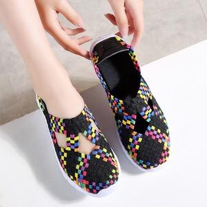 Image 3 - STQ 2020 Autumn Women Flats Shoes Women Woven Shoes Flat Sneakers Shoes Female Ballet Flats Multi Eva Loafers Ladies Shoes 609