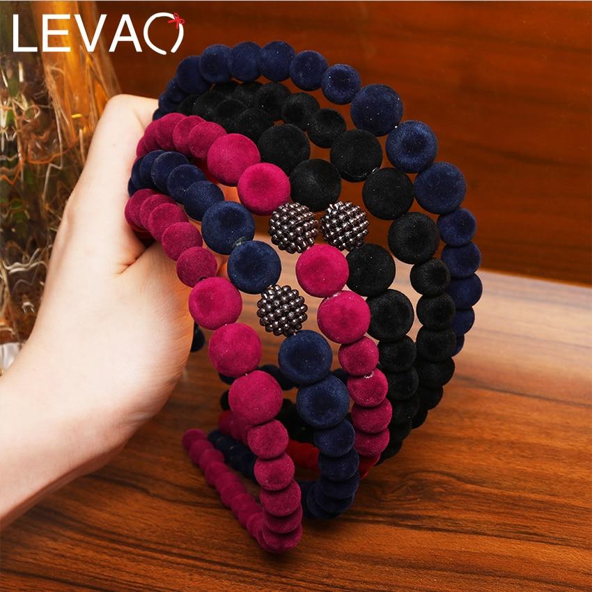 LEVAO 2020 New Velvet Pearl Headband Beads Hairband For Women Elegant Beaded Hair Bands Hoop Headbands Girls Hair Accessories
