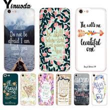 Yinuoda Bible Verse Philippians Jesus Christ Christian Transparent Case for iPhone 8 7 6 6S Plus X XS XR SE 5C11 11pro 11promax