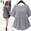 2016 mujeres del verano blusas a cuadros de manga corta era delgada elegante blusa de las señoras camisas blusas femininas blusa de la vendimia más el tamaño