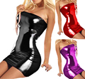 Mulheres sexy hot lingerie trajes Sexy glisten Metálico PVC COURO FALSO Cueca Babydoll Lingerie strapless PRETO