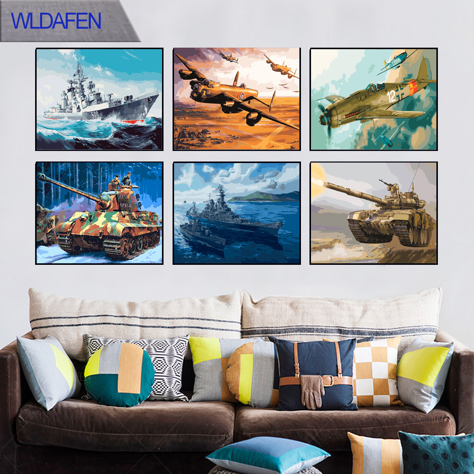 kids bedroom decor Aircraft tanks and warships DIY paintings by numbers on canvas picture by numbers with a frame oil paintings