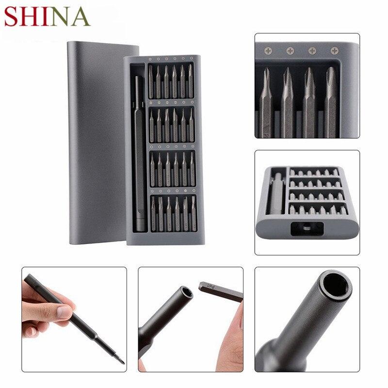 SHINA Utilisation Quotidienne Screwdrive Kit 24 Précision Magnétique Bits AL Boîte Tournevis Xiaomi Ensemble À La Maison Intelligente