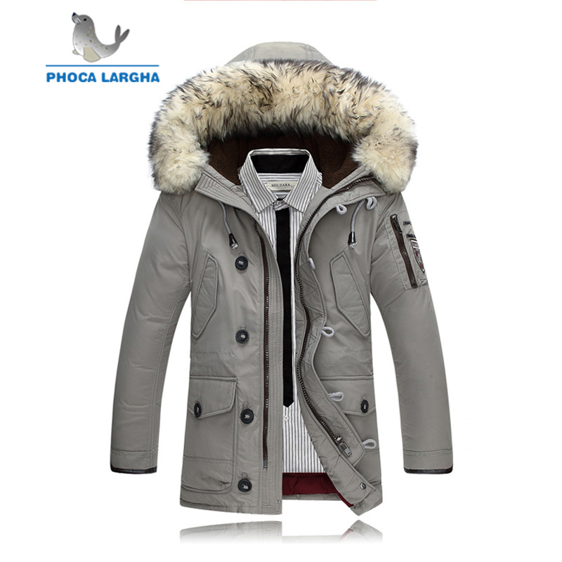 2018 Men's Jackets Thick Warm   Down   Jacket Men New Brand Clothing High Quality Fur Collar Hooded Casual Winter   Down     Coats   Male
