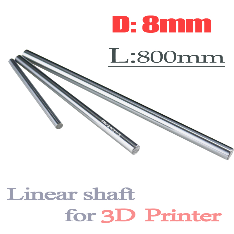 2pcs/lot 8mm linear shaft 800mm 8mm linear shaft length 800mm chrome plated linear guide rail round rod shaf