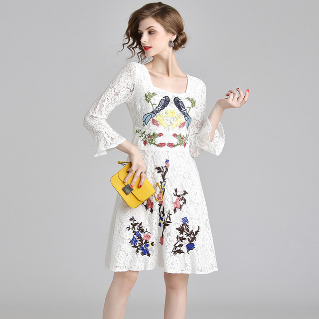 HAMALIEL New 2018 Autumn White Lace Party Dress Fashion Women Long Flare Sleeve Floral Bird Embroidery Slim Square Collar Dress