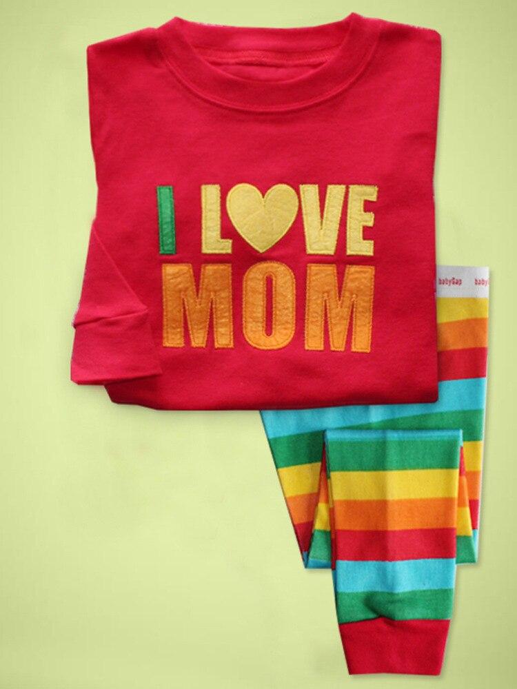Hot Sale Pijamas Kids Pajamas sets Children Rainbow Striped sleepwear I  love mom design pyjamas for girls clothing sets 80c5ac133