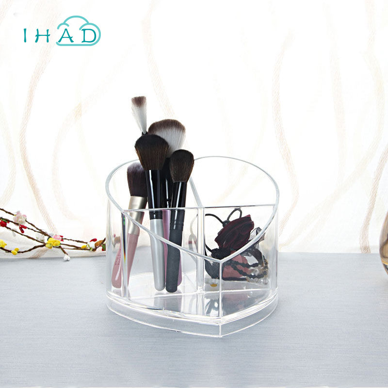 Creative Home Storage Box Acrylic Heart-shaped makeup Organizer Cosmetic box brushes rack holder Desktop pencil box