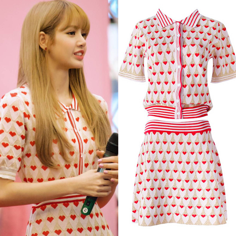 Kpop BLACKPINK LISA The Same Love Heart Print Knitwear T-Shirt Skirt Set New Women Sweet Tops Two Piece Dress Set Female Clothes