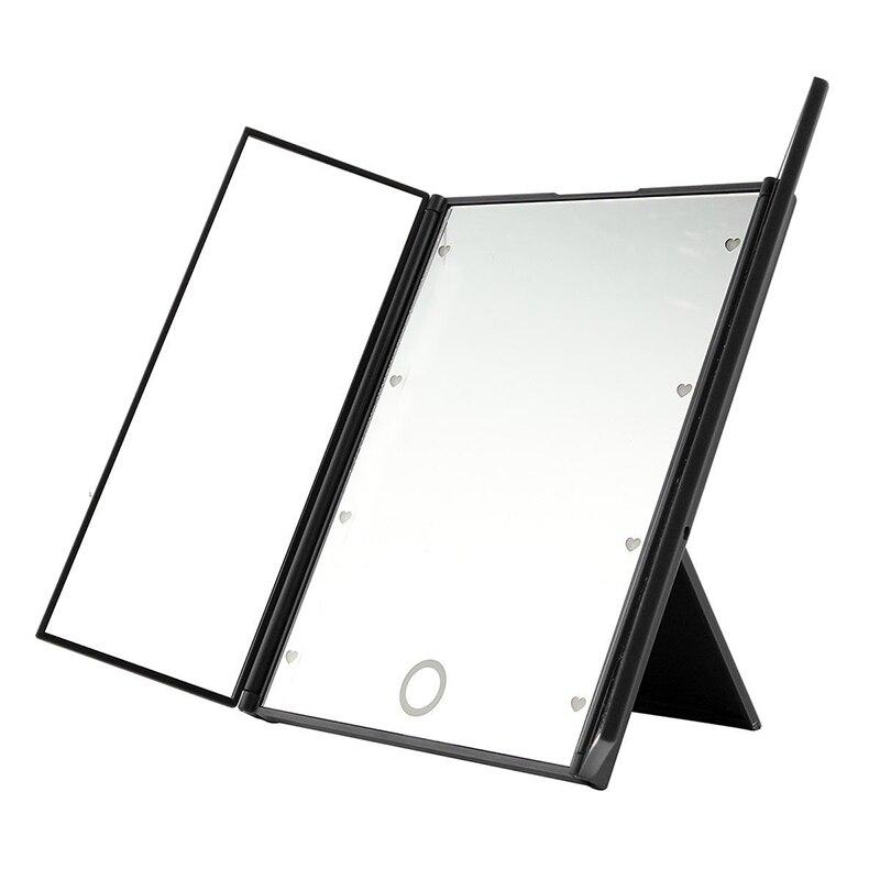 Haut Pflege Werkzeuge Verantwortlich Neue Tri-seitige 8 Led Licht Make-up Spiegel Kosmetische Eitelkeit Spiegel Tragbare Quadratische Form Hohe Grade Tabletop Machen Up Backlit Spiegel