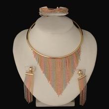 Dubai Gold Jewelry3 tones Sets Nigerian Wedding African Beads Crystal Bridal Jewellery Set Rhinestone Ethiopian Jewelry parure