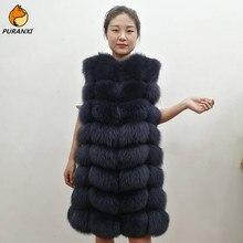 Импортный жилет из натурального Лисьего меха, куртка, жилетка, пальто для женщин, без рукавов, зимняя длинная толстая теплая Роскошная однотонная расцветка