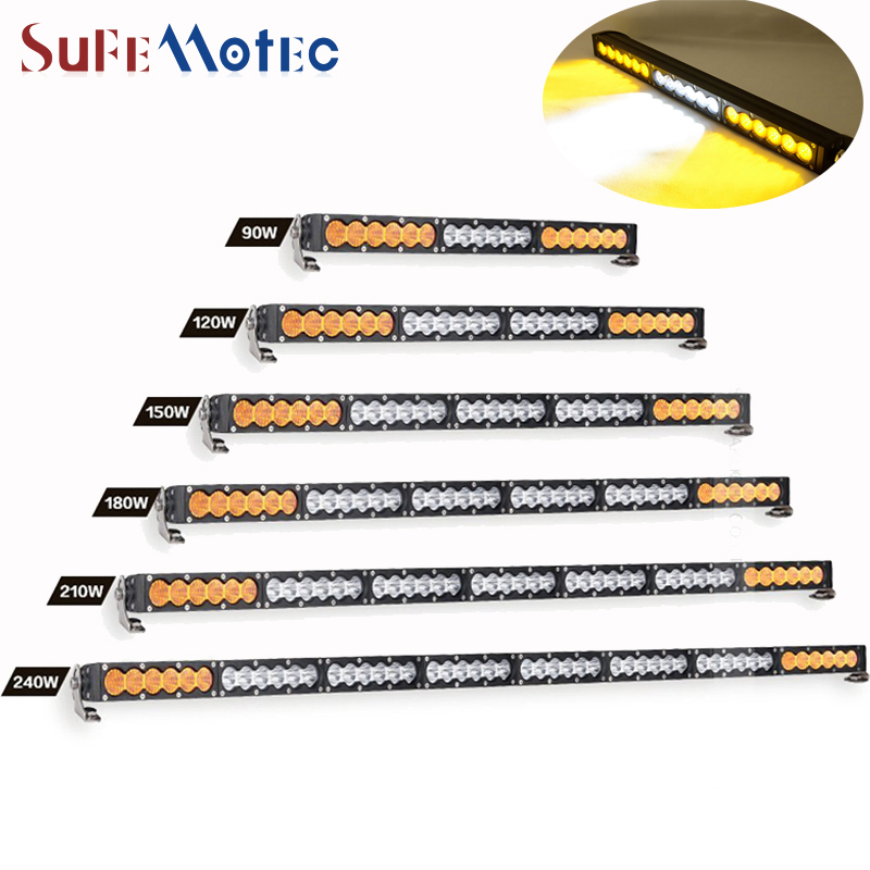 SufeMotec 90W 150W 240W Single Row Led Light Bar Led Work Light Combo White Amber Fog Lamp for OffRoad Truck SUV 4x4 4WD 12V 24V видеоигра бука saints row iv re elected