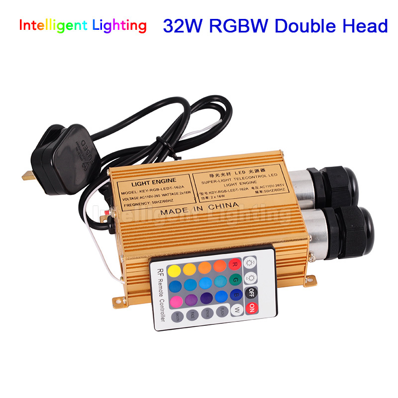 32W Double Head RGBW LED Fiber Optic light Engine Driver with 24key RF Remote Controller For All Kinds Fiber Optics new dmx led optic fiber light engine ac110v or ac240v double ports led illuminator for diy lights