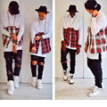 Men Gold Chain Red Plaid Long sleeve Shirts Turn-down Collar Hip Hop Shirt