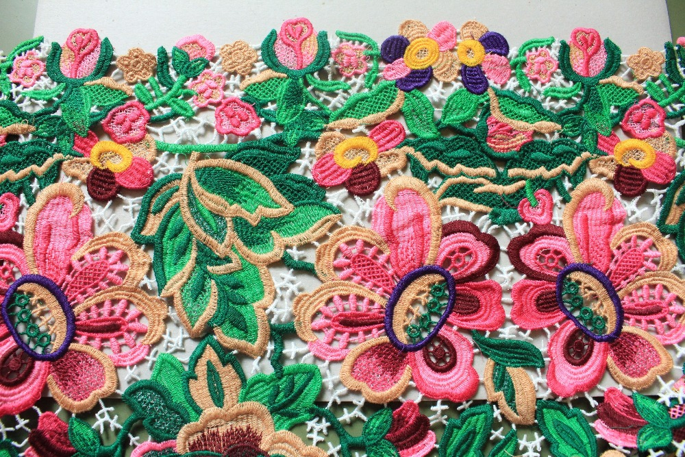 Multi colored Venice Lace Fabric Antique Crocheted Floral Lace Bridal Gown Dress Fabric