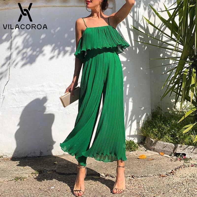 Chiffon Green Ruffle Jumpsuit For Women Sexy Sleeveless Camis High Waist Cute Rompers Loose Long Womens Wide-Leg Ladies Overalls
